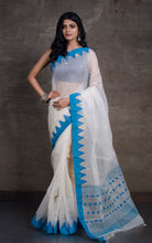 Resham Muslin Jamdani Saree in White and Sapphire Blue