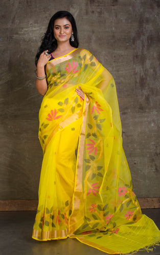 Muslin Jamdani Saree in Yellow and Multicolored Thread Work