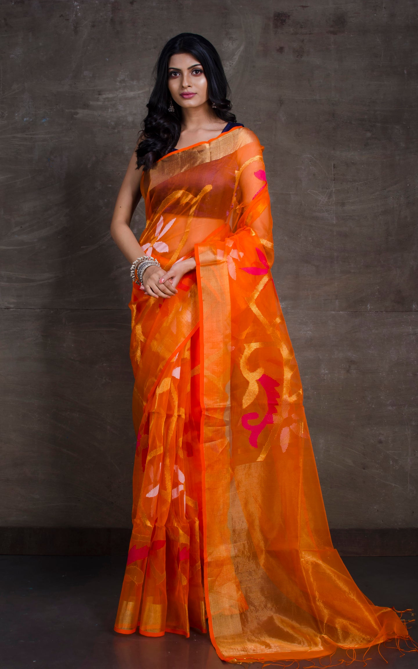 Muslin Jamdani Saree in Orange, Gold and Hot Pink