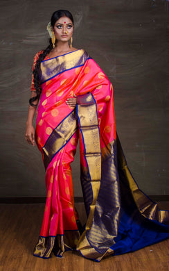Kanchipuram Silk Saree in Pink, Blue and Gold - Bengal Looms India