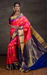 Kanchipuram Silk Saree in Pink, Blue and Gold from Bengal Looms India