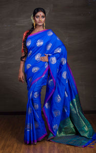 Art Silk Kanchipuram Saree in Blue and Green from Bengal Looms India