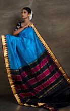 South Kanchipuram Silk Saree in Blue and Gold