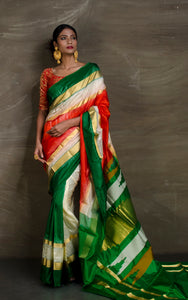 Pure Soft Silk Patli Pallu Saree in Fire Orange, Off white and Green from Bengal Looms India