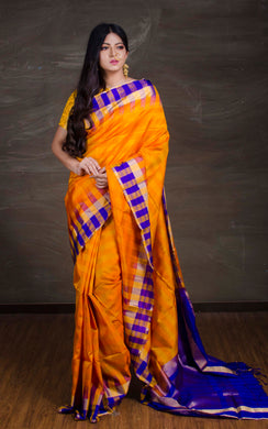 South Silk Saree with Check Border in Orange, Blue and Gold