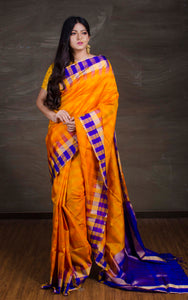 South Silk Saree with Check Border in Orange, Blue and Gold from Bengal Looms India