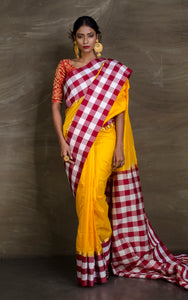 Semi Pure South Silk Checks Border Saree in Yellow from Bengal Looms India