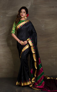 South Kanchipuram Silk in Black and Gold - Bengal Looms India