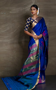 Exclusive Temple Border Kanjivaram Saree in Admiral Blue from Bengal Looms India