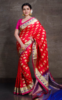 Art Silk Kanjivaram Saree in Red and Purplish Blue