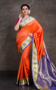 Art Silk Kanjivaram Saree in Sherbet Orange and Purplish Blue