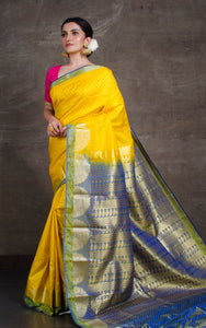 Art Silk Kanjivaram Saree in Yellow, Green and Blue