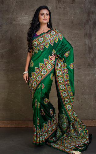 Pure Silk Hand Embroidery Kantha Stitch Saree in Dark Green and Multicolored Thread Work