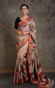 Designer Printed Tussar Silk with Kantha Work Saree in Light Brown and Multicolored