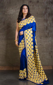 Hand Embroidery Kantha Stitch Saree in Royal Blue, Yellow and Off White