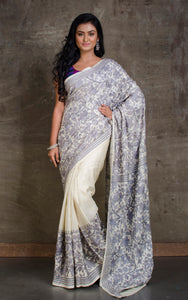 Pure Silk Hand Embroidery Kantha Stitch Saree in Ash and Off white