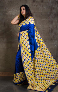 Elegant Body Plain Hand Embroidery Kantha Stitch Saree in Royal Blue, Yellow and Off White