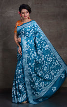 Pure Silk Hand Embroidery Kantha Stitch Saree in Rama Green and Off White