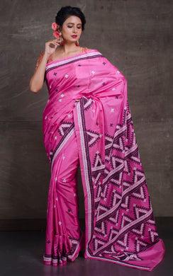 Pure Silk Hand Embroidery Kantha Stitch Saree in Pink, White and Black