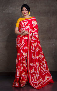Pure Silk Hand Embroidery Kantha Stitch Saree in Red, Wheat and Off White