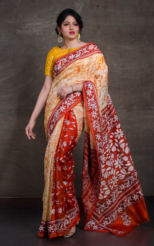 Pure Silk Hand Embroidery Batik Kantha Stitch Saree in Beige, Rust and White