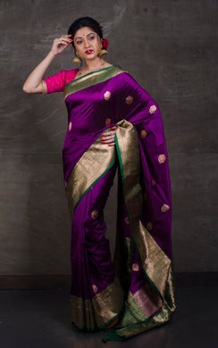 Pure Katan Banarasi Silk Saree in Eggplant Purple and Dark Green