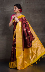 Pure Katan Banarasi Silk Saree in Chocolate Brown and Golden Yellow