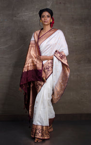 Pure Katan Banarasi Silk Saree in Off White and Dark Brown