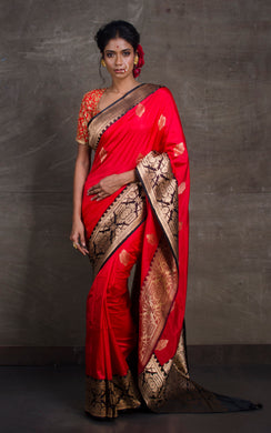 Pure Katan Banarasi Silk Saree in Red and Black