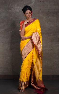 Pure Katan Banarasi Silk Saree in Sunflower Yellow and Maroon
