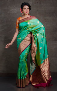 Pure Katan Banarasi Silk Saree in Sea Green and Maroon