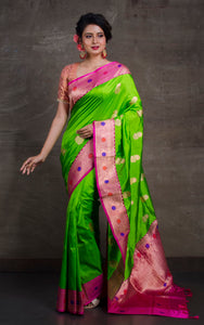 Tilfi Minakari Work Banarasi Silk Saree in Lime Green and Deep Pink