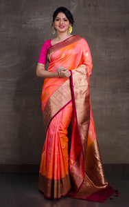 Pure Katan Banarasi Silk Saree in Peach and Maroon