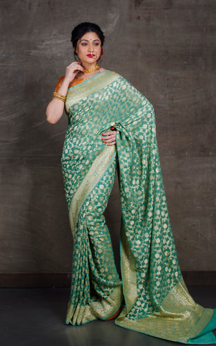 Pure Khaddi Georgette Banarasi Saree in Sage Green