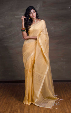 Cotton Silk Saree with Temple Border in Beige and Gold - Bengal Looms India