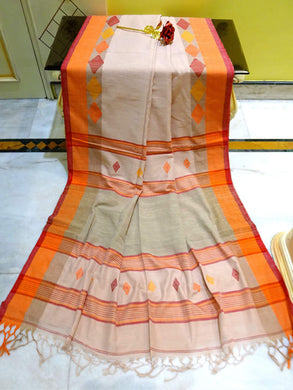 Pure Khadi Soft Cotton Saree in Cream, Orange and Red