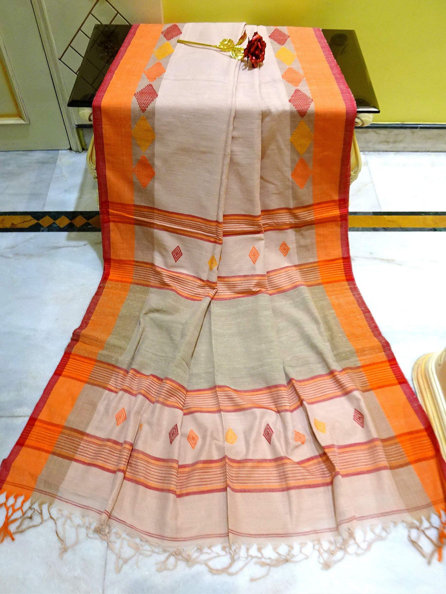 Pure Khadi Soft Cotton Saree in Cream, Orange and Red from Bengal Looms India