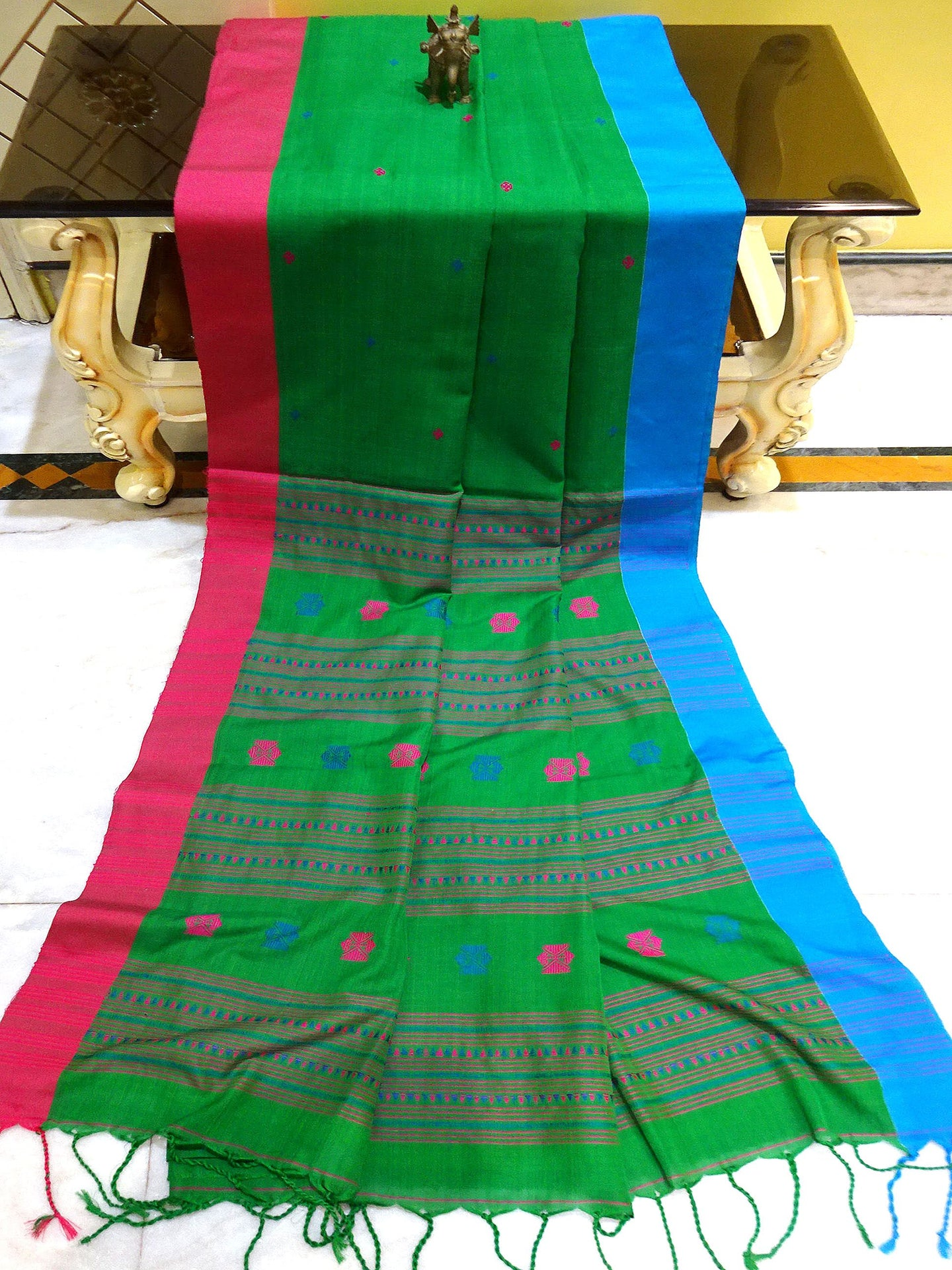Soft Cotton Saree with Ganga Jamuna Border in Green - Bengal Looms India