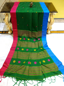 Khadi Soft Cotton Saree with Ganga Jamuna Border in Forest Green - Bengal Looms India
