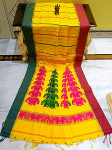 Soft Cotton Saree with Ganga Jamuna Border in Yellow from Bengal Looms India