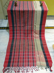 Double Warp Mahapar Khadi Soft Cotton Saree in Beige, Black and Red