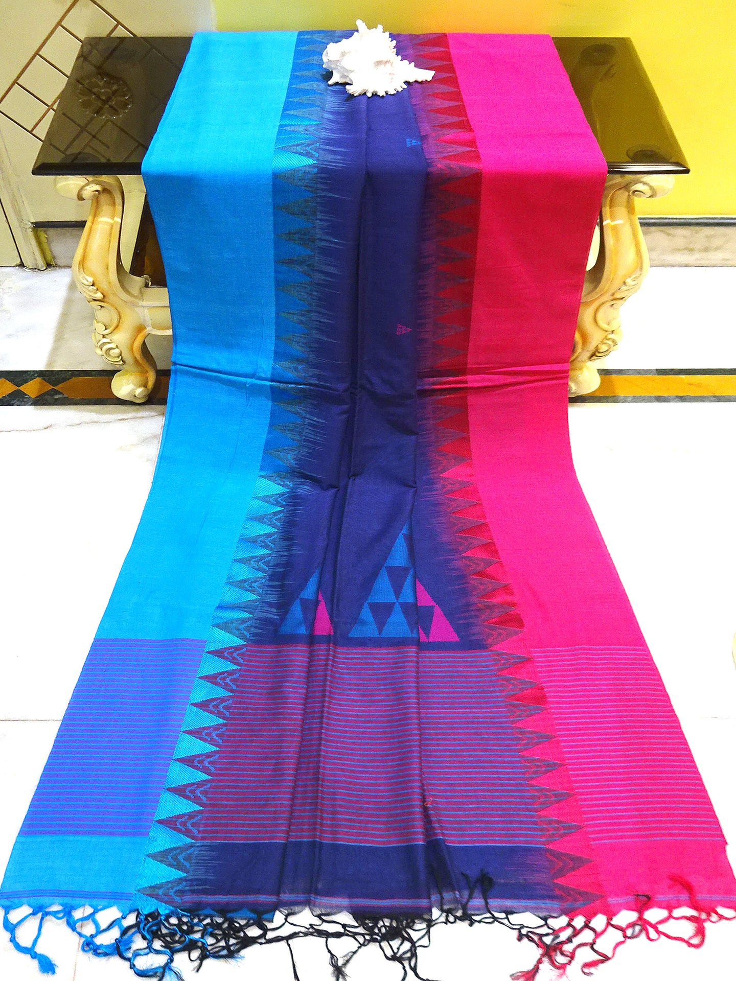 Khadi Soft Cotton Saree in Dark Blue, Blue and Hot Pink