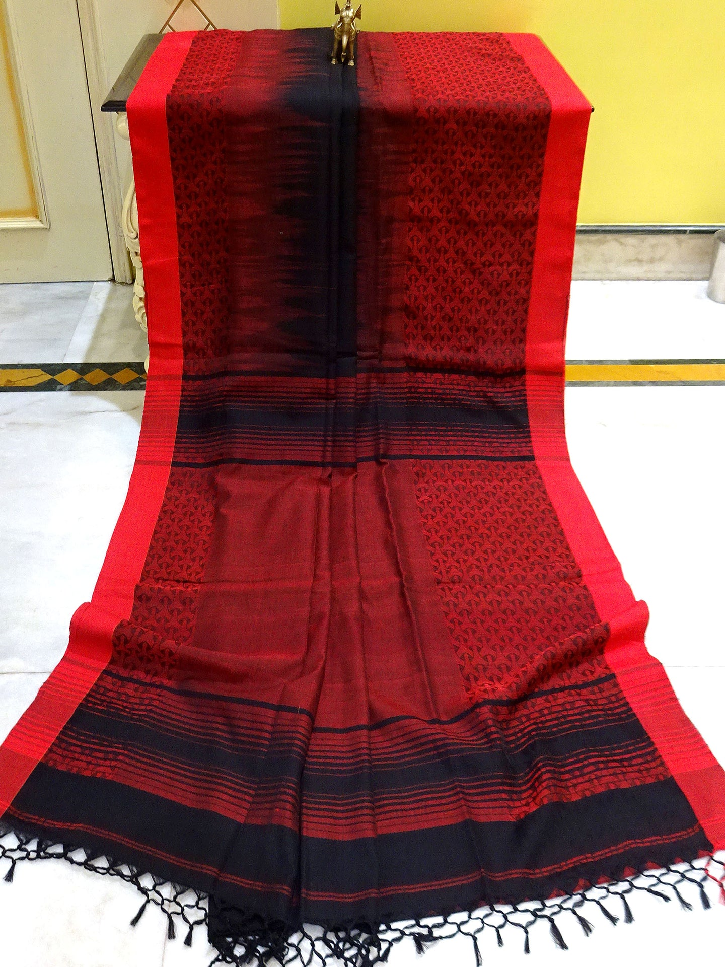 Brocade Skirt Border Soft Cotton Khadi Saree in Black and Crimson Red