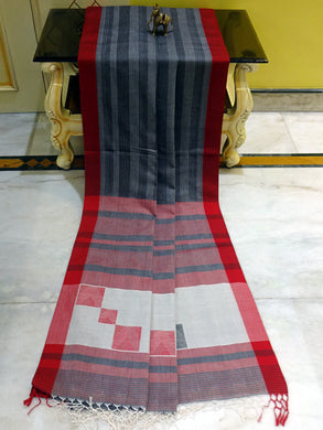 Khadi Soft Cotton Saree in Charcoal Grey, Red and Black