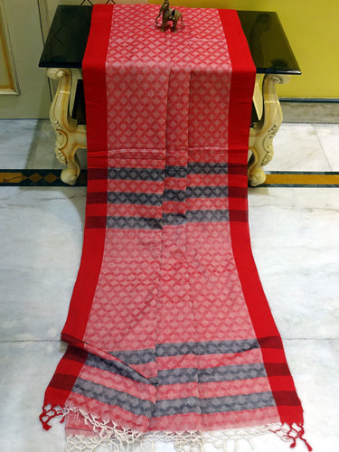 Tanchui Brocade Khadi Saree in Red, Off White and Black