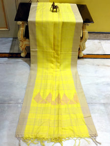 Khadi Soft Cotton Saree in Light Neon Yellow and Khaki