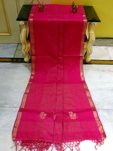 Soft Authentic Pure Cotton Khadi Saree in Hot Pink and Gold