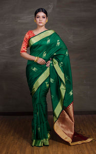 Chanderi Cotton Silk Banarasi Saree in Green, Magenta and Gold - Bengal Looms India