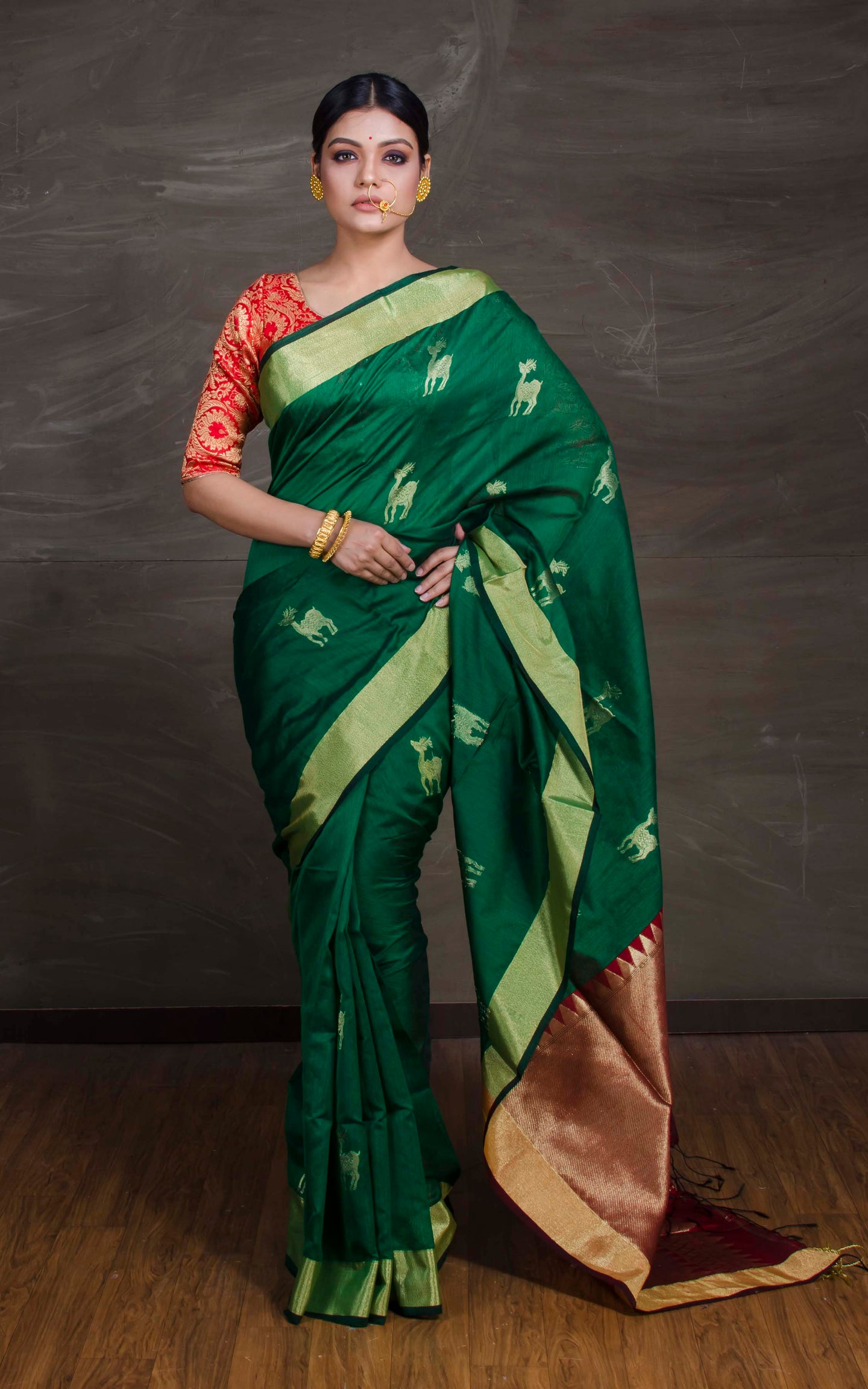 Chanderi Cotton Silk Banarasi Saree in Green, Magenta and Gold