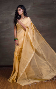 Cotton Silk Saree with Temple Border in Beige and Gold from Bengal Looms India